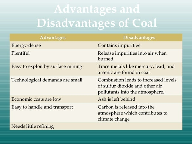 ... Energy and water - advantages and disadvantages of different energy