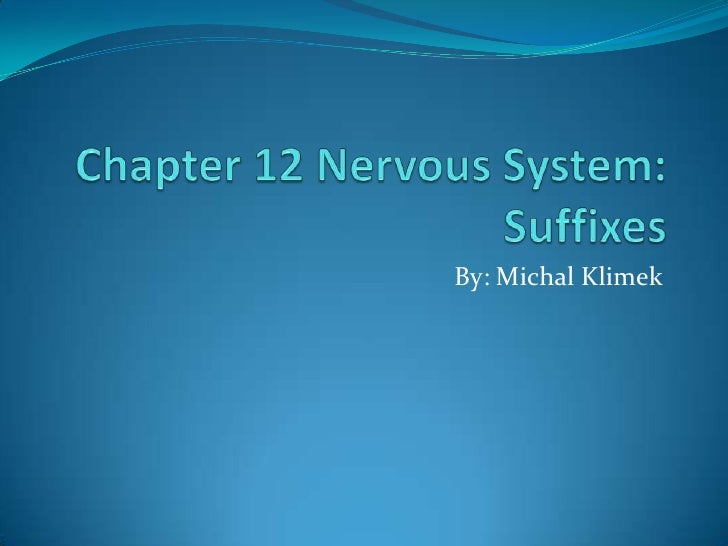 Chapter 12 Presentation: Nervous System Suffixes