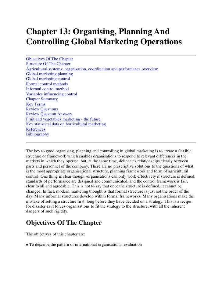 Chapter 13: Organising, Planning And Controlling Global Marketing Operations<br />Objectives Of The ChapterStructure Of Th...