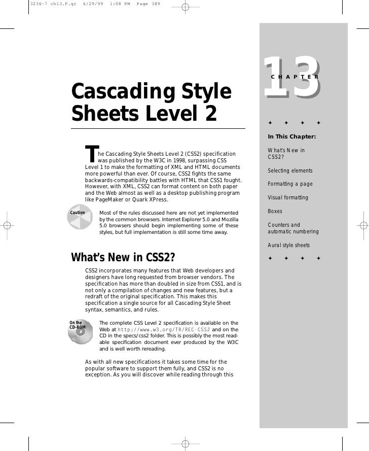 13                                                                                CHAPTER   Cascading Style Sheets Level 2...