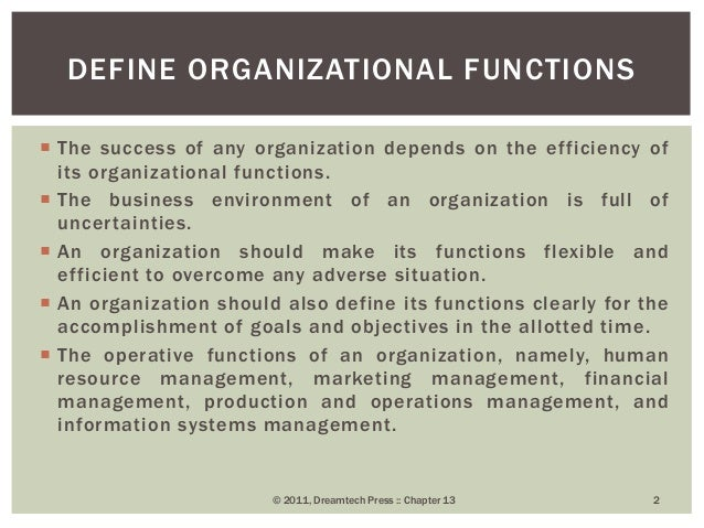 organizing role of management essay While operations management is focused on the production of goods and/or services in an organization, its importance to the overall organization cannot be underestimated when an organization's.