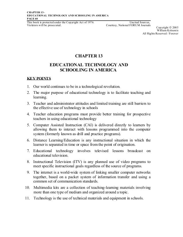CHAPTER 13–EDUCATIONAL TECHNOLOGY AND SCHOOLING IN AMERICAPAGE 60This book is protected under the Copyright Act of 1976. U...