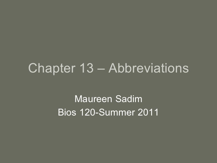 Chapter 13 – abbreviations