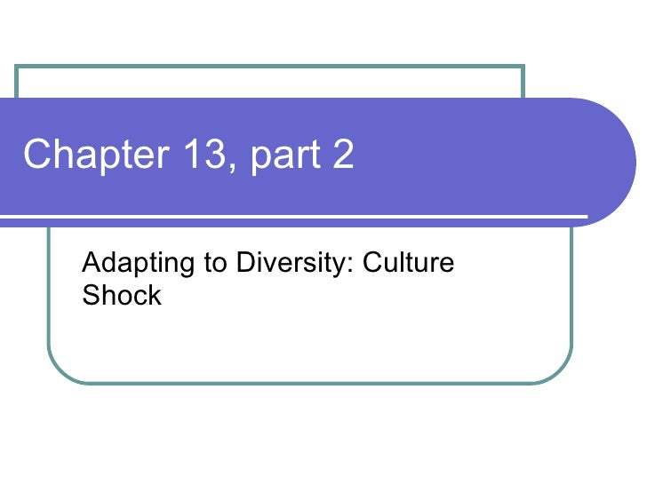 Chapter 13, part 2 Adapting to Diversity: Culture Shock