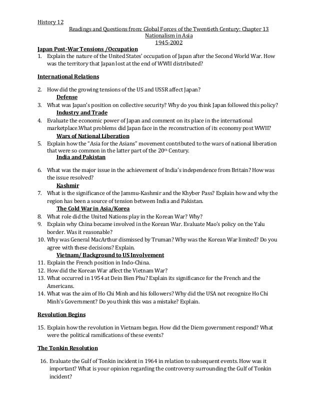 H12 Chapter 13 questions