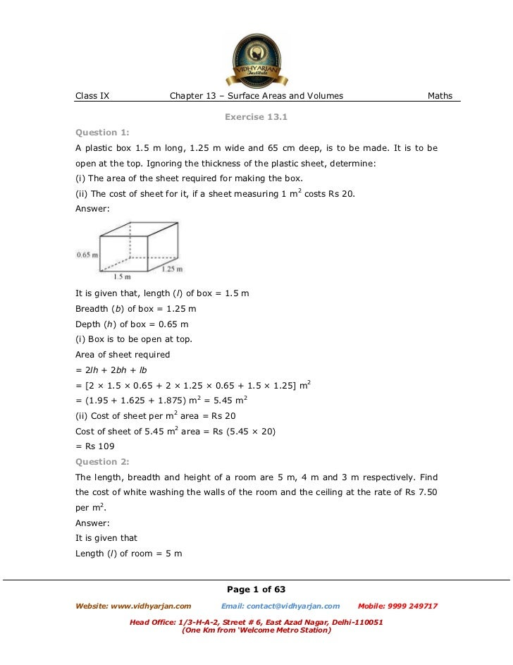 Class IX                Chapter 13 – Surface Areas and Volumes                          Maths                             ...