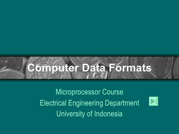 Computer Data Formats Microprocessor Course Electrical Engineering Department University of Indonesia