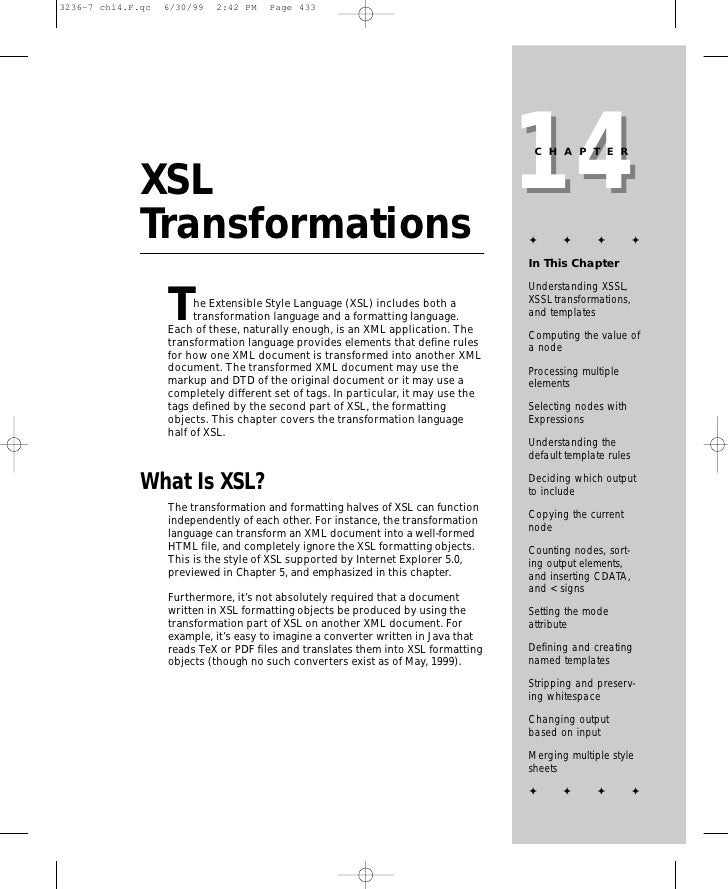 14                                                                      CHAPTER   XSL Transformations                     ...