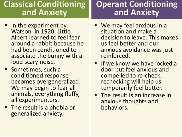 classical and operant conditioning essay Define classical conditioning and operant conditioning identify and explain the similarities and differences between the two types create a real-life example where either classical or operant conditioning may be used.