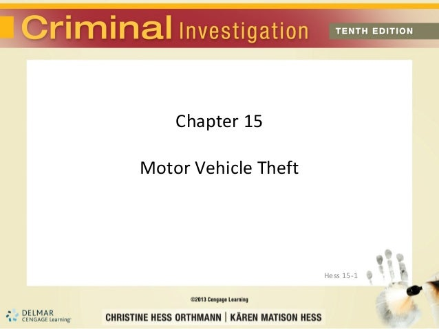 Chapter 15Motor Vehicle Theft                      Hess 15-1