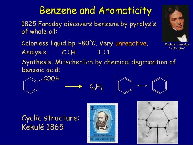 1825 Faraday discovers benzene by pyrolysis of whale oil: Colorless liquid bp ~80°C. Very unreactive. Analysis: :C H :1 1 ...