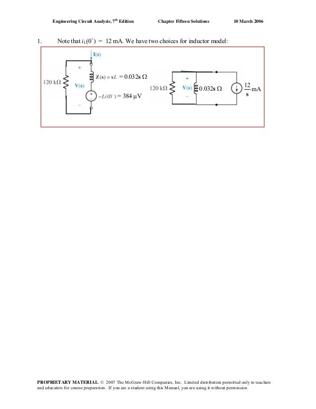 Engineering Circuit Analysis, 7th Edition  1.  Chapter Fifteen Solutions  10 March 2006  Note that iL(0+) = 12 mA. We have...