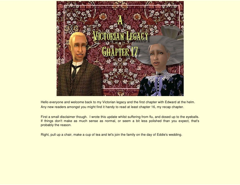 Hello everyone and welcome back to my Victorian legacy and the first chapter with Edward at the helm. Any new readers amon...