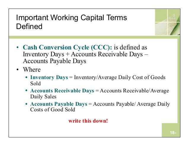 relationship between net working capital and cash conversion cycle