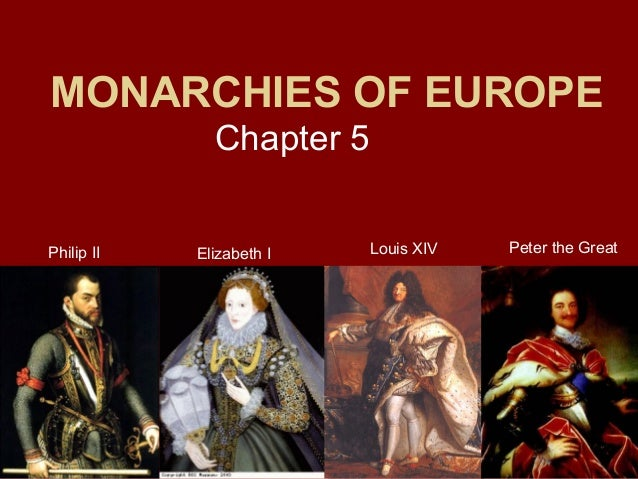MONARCHIES OF EUROPE Chapter 5 Philip II  Elizabeth I  Louis XIV  Peter the Great