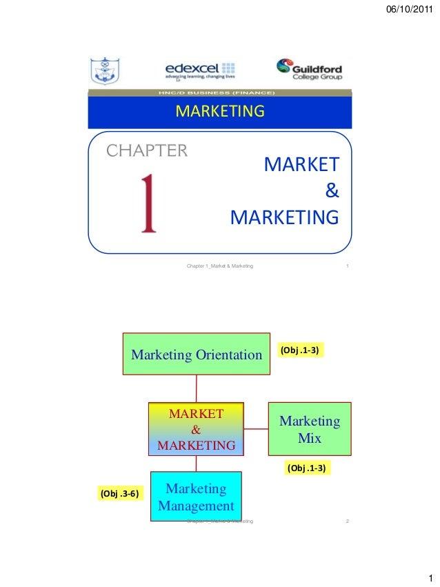 06/10/2011 1 MARKETING MARKET & MARKETING 1Chapter 1_Market & Marketing MARKET & MARKETING Marketing Orientation Marketing...