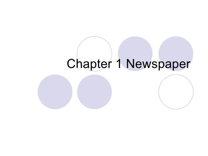 Chapter 1 Newspaper