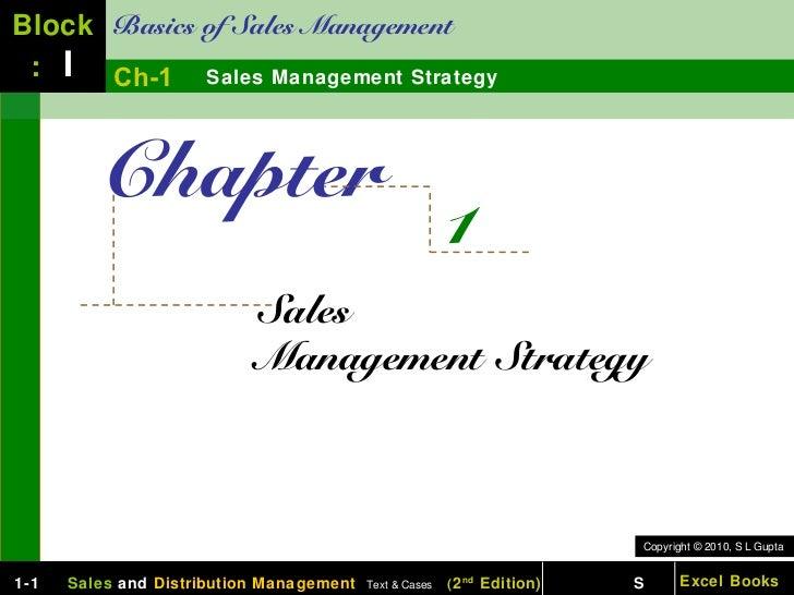Block Basics of Sales Management : I Ch-1 Sales Management Strategy         Chapter                                       ...