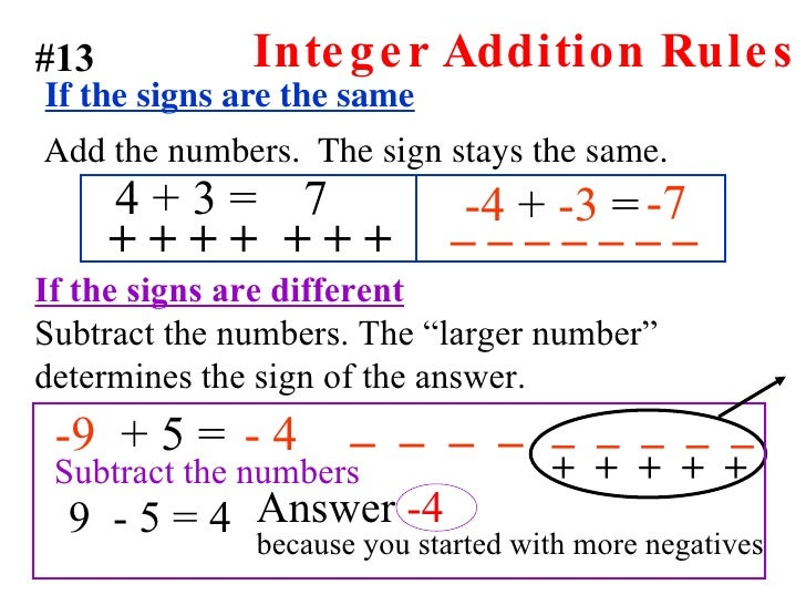 rules for adding and subtracting integers worksheet