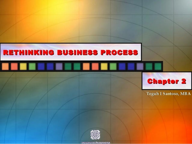 Teguh I Santoso, MBATeguh I Santoso, MBA RETHINKING BUSINESS PROCESSRETHINKING BUSINESS PROCESS Chapter 2Chapter 2