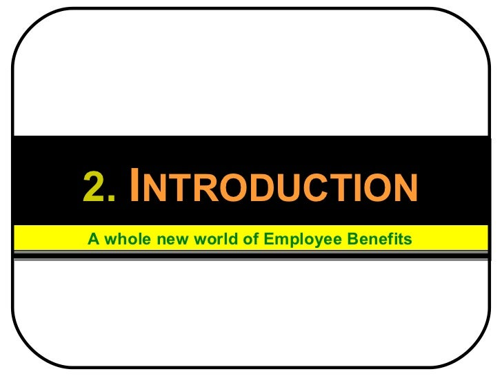 2.   I NTRODUCTION A whole new world of Employee Benefits