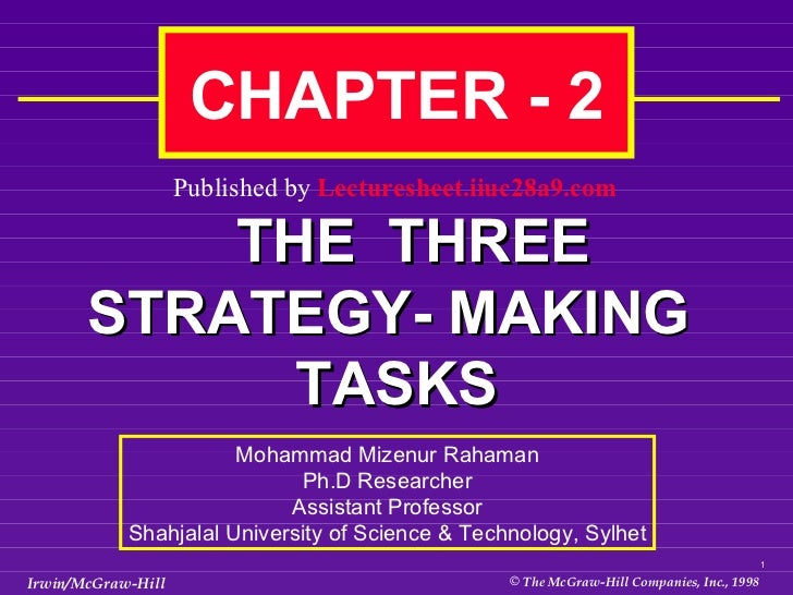 CHAPTER - 2  THE  THREE STRATEGY- MAKING  TASKS Mohammad Mizenur Rahaman Ph.D Researcher Assistant Professor Shahjalal Uni...