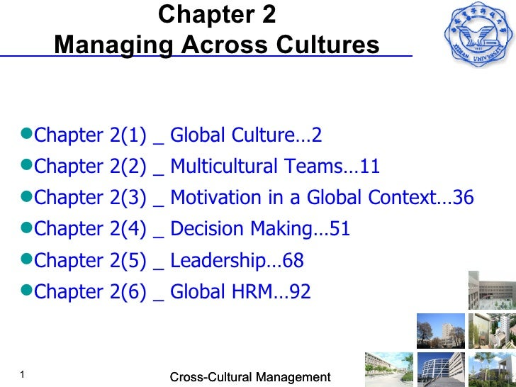 Chapter 2    Managing Across CulturesChapter 2(1) _ Global Culture…2Chapter 2(2) _ Multicultural Teams…11Chapter 2(3) _...