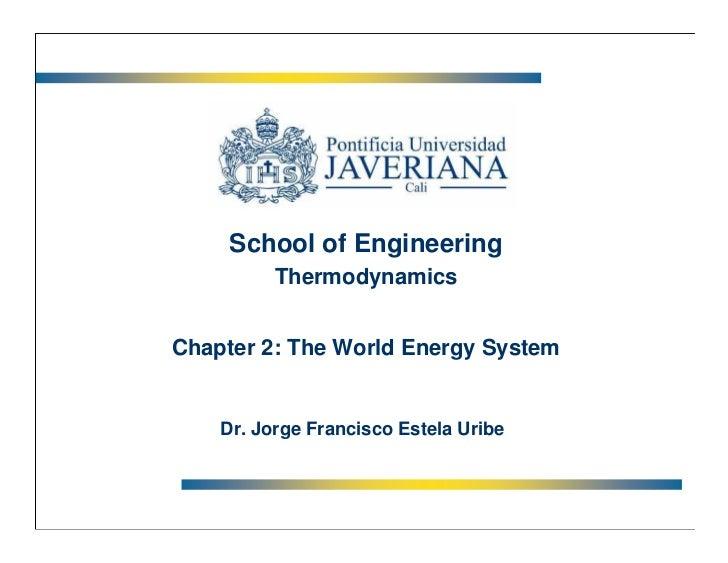School of Engineering          ThermodynamicsChapter 2: The World Energy System    Dr. Jorge Francisco Estela Uribe