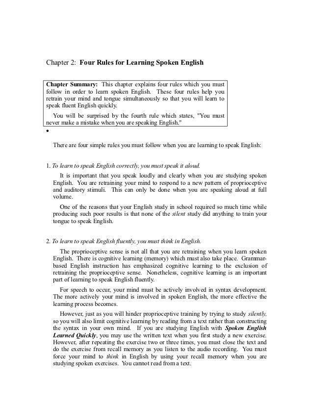 Chapter 2: Four Rules for Learning Spoken EnglishChapter Summary: This chapter explains four rules which you mustfollow in...