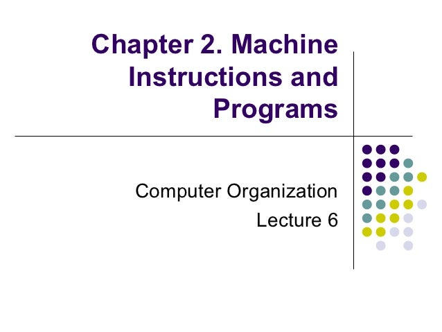 Chapter 2. Machine  Instructions and         Programs   Computer Organization               Lecture 6