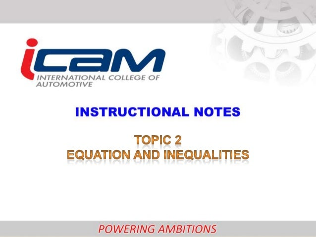 Chapter 2 : EQUATIONS AND INEQUALITIES