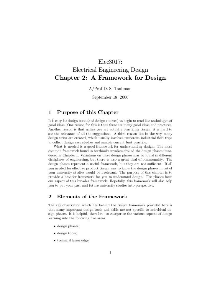 Elec3017:         Electrical Engineering Design    Chapter 2: A Framework for Design                           A/Prof D. S...