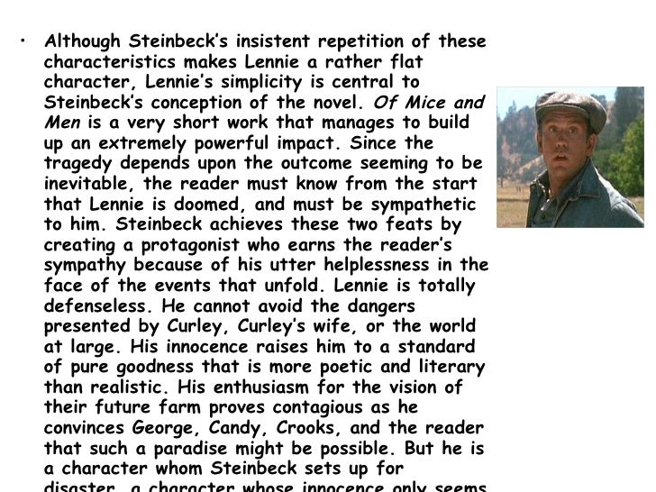 how does steinbeck present lennie and george essay Steinbeck presents the relationship between george and lennie by utilizing a number of literary techniques and devices, particularly in the first 3 section.