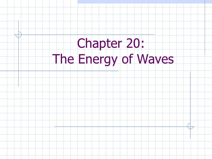 Chapter 20:  The Energy of Waves