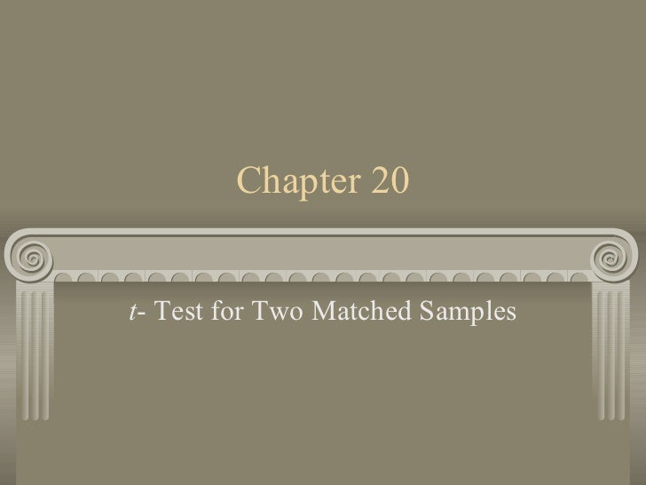 Chapter 20 t - Test for Two Matched Samples