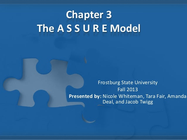 Chapter 3 The A S S U R E Model  Frostburg State University Fall 2013 Presented by: Nicole Whiteman, Tara Fair, Amanda Dea...