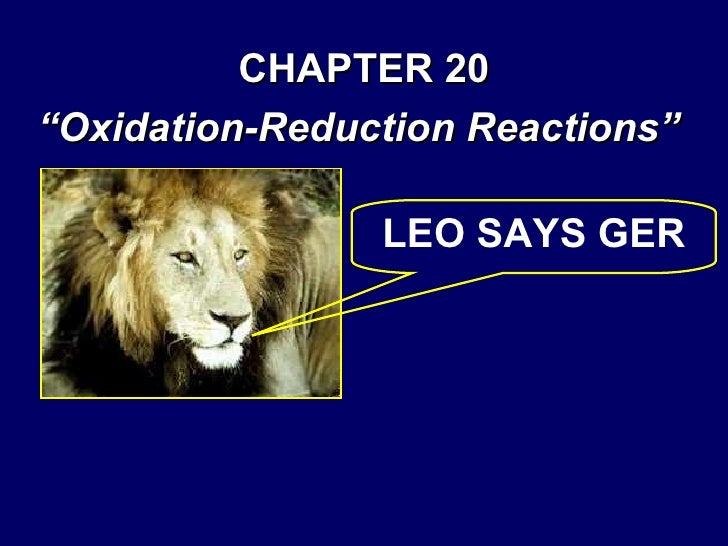 """CHAPTER 20 """" Oxidation-Reduction Reactions"""" LEO SAYS GER"""