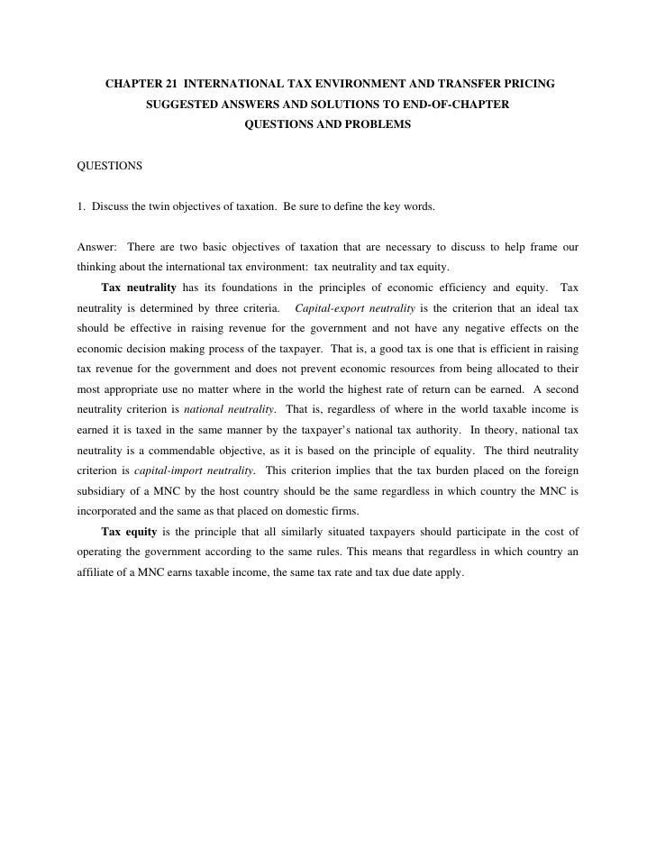 CHAPTER 21 INTERNATIONAL TAX ENVIRONMENT AND TRANSFER PRICING              SUGGESTED ANSWERS AND SOLUTIONS TO END-OF-CHAPT...