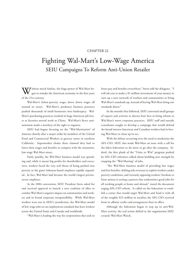 CHAPTER 22                 Fighting Wal-Mart's Low-Wage America                    SEIU Campaigns To Reform Anti-Union Ret...