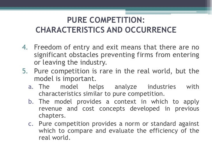 characteristics of pure competition Ch 10 perfect competition, monopoly, and monopoly monopolistic competition oligopoly 5 table 101 characteristics of market types very high advertising consider-able monopoly public utilities one unique product advertising and product differentiation some high standardized or.