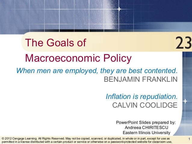 macroeconomic goals Define macroeconomics: macroeconomists look for ways to meet economic policy goals and create economic stability in doing so.