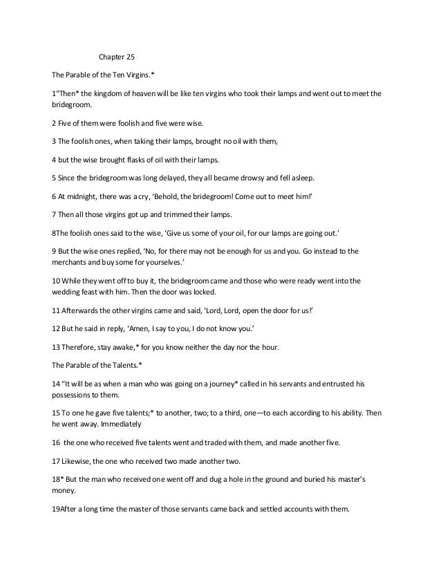 Study Notes  of Matthew Chapter 25