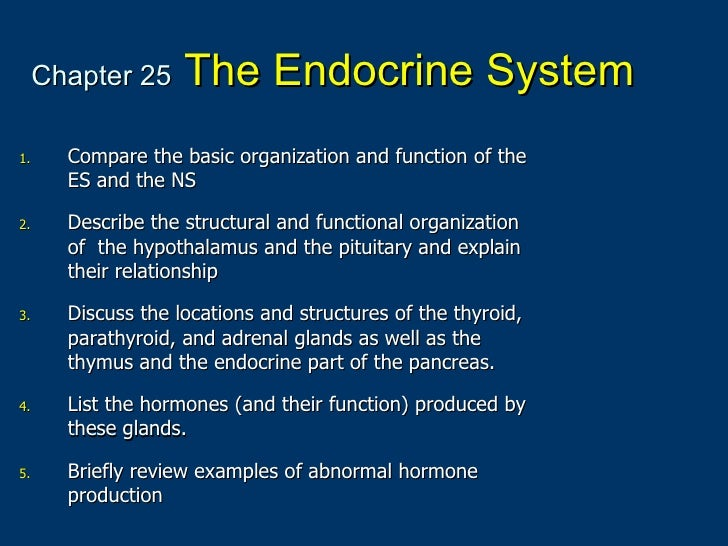 Chapter 25   The Endocrine System <ul><li>Compare the basic organization and function of the ES and the NS </li></ul><ul><...