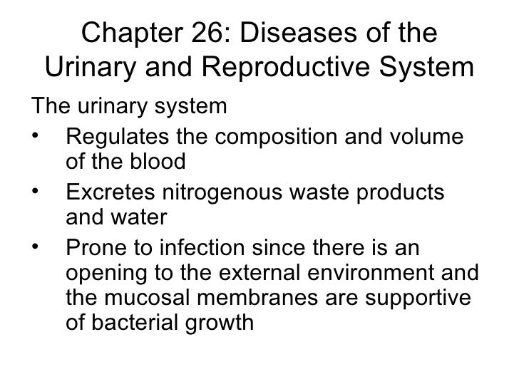 Chapter 26: Diseases of the Urinary and Reproductive System <ul><li>The urinary system </li></ul><ul><li>Regulates the com...