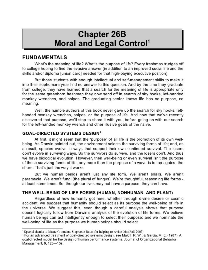 Chapter 26B                    Moral and Legal Control1FUNDAMENTALS        What's the meaning of life? What's the purpose ...