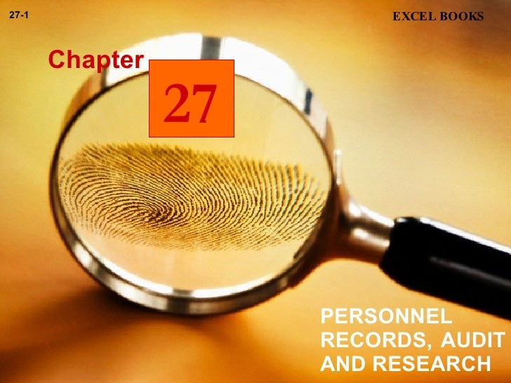 PERSONNEL RECORDS, AUDIT AND RESEARCH Chapter EXCEL BOOKS 27-1 27