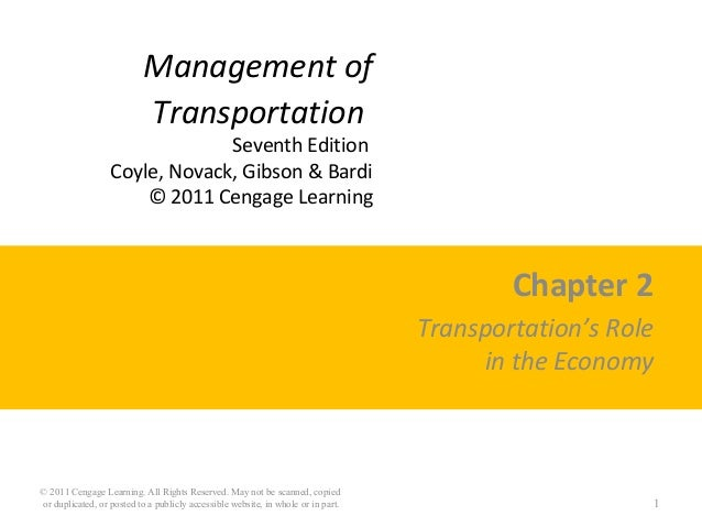 Management of Transportation Seventh Edition Coyle, Novack, Gibson & Bardi © 2011 Cengage Learning Chapter 2 Transportatio...