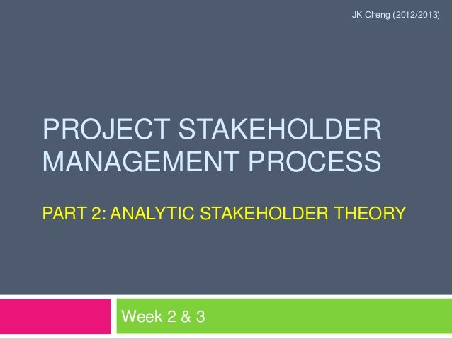 JK Cheng (2012/2013)PROJECT STAKEHOLDERMANAGEMENT PROCESSPART 2: ANALYTIC STAKEHOLDER THEORY       Week 2 & 3