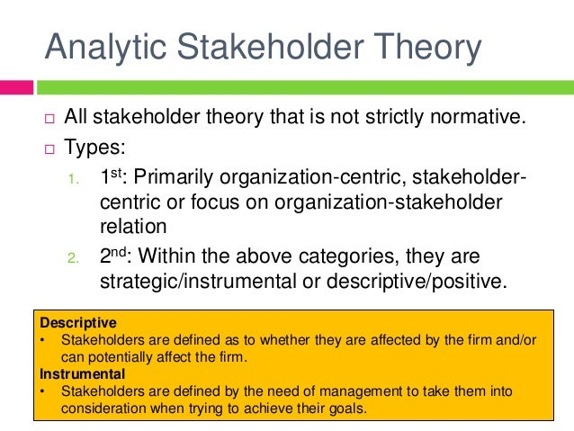 stakeholder theory in organisational management Issues and strategies in stakeholder management of the issues and strategies in stakeholder stakeholder theory: an organizational.