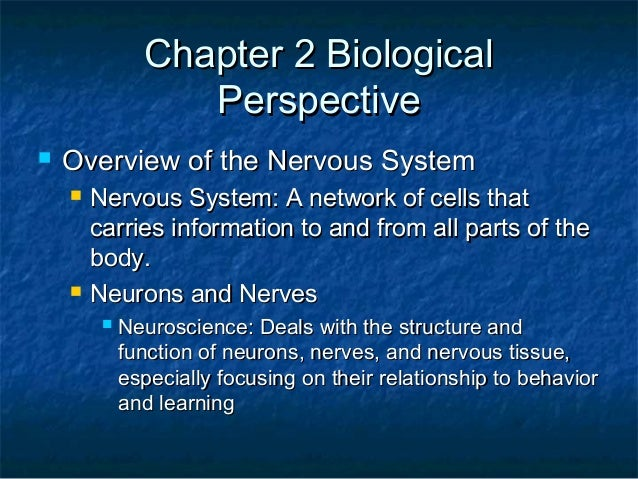 Chapter 2 BiologicalChapter 2 Biological PerspectivePerspective  Overview of the Nervous SystemOverview of the Nervous Sy...